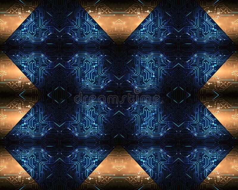 Konstnärligt abstrakt modernt teknologiskt mångfärgat konstverk som en unik bakgrund royaltyfri illustrationer