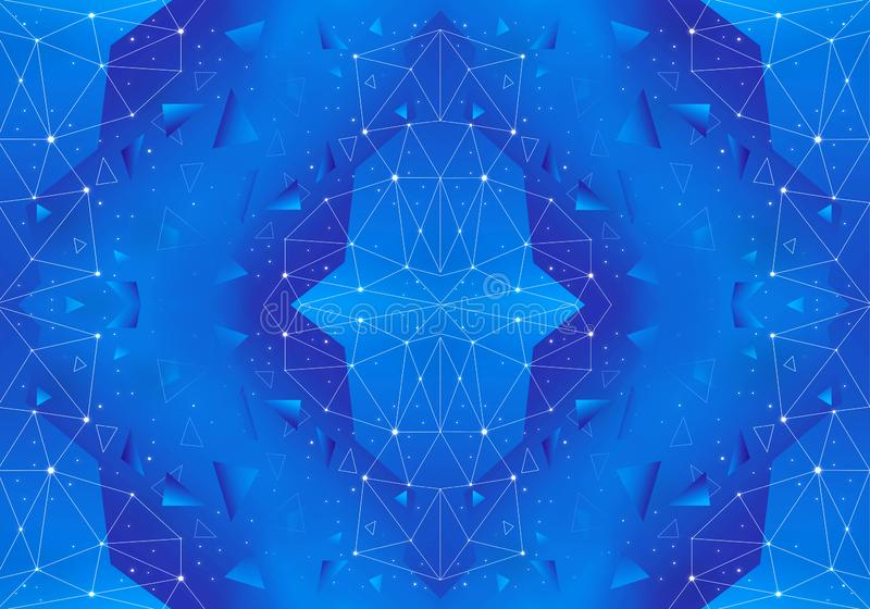 Konstnärligt abstrakt unikt geometriskt nätverk på en blå bakgrund stock illustrationer