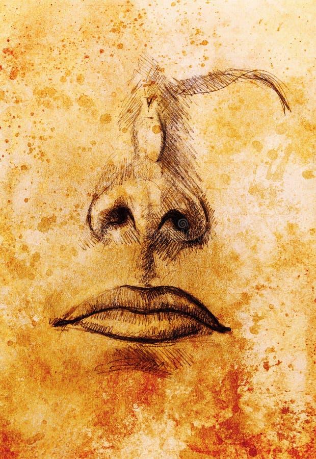 Konstnärligt skissa av framsidadelar, näsa och mun, på färgrik strukturerad abstrakt bakgrund royaltyfri illustrationer