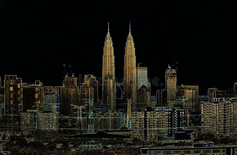 Konstnärligt skissa av Kuala Lumpur royaltyfria foton