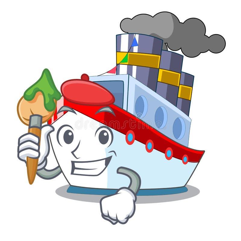 Konstnärskepp i trans.havmaskot stock illustrationer
