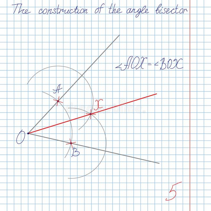 Konstruieren Sie einen bisector Winkel stock abbildung