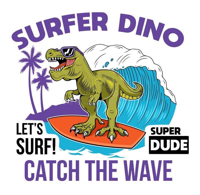Konstrukcja druku dino surfer T-REX royalty ilustracja