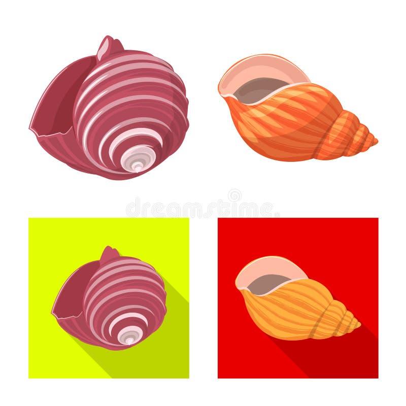 Konstrukcja wektorowa znaku zwierzęcego i dekoracyjnego Zbiór symboli zasobów zwierzęcych i oceanicznych dla sieci ilustracji