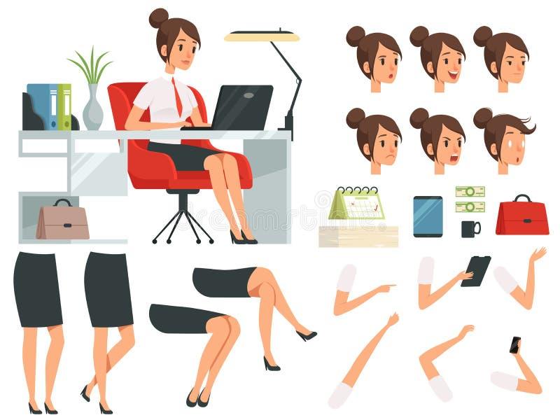 Konstruktör av affärskvinnan Sats för tecknad filmmaskotskapelse av affärskvinnan vektor illustrationer