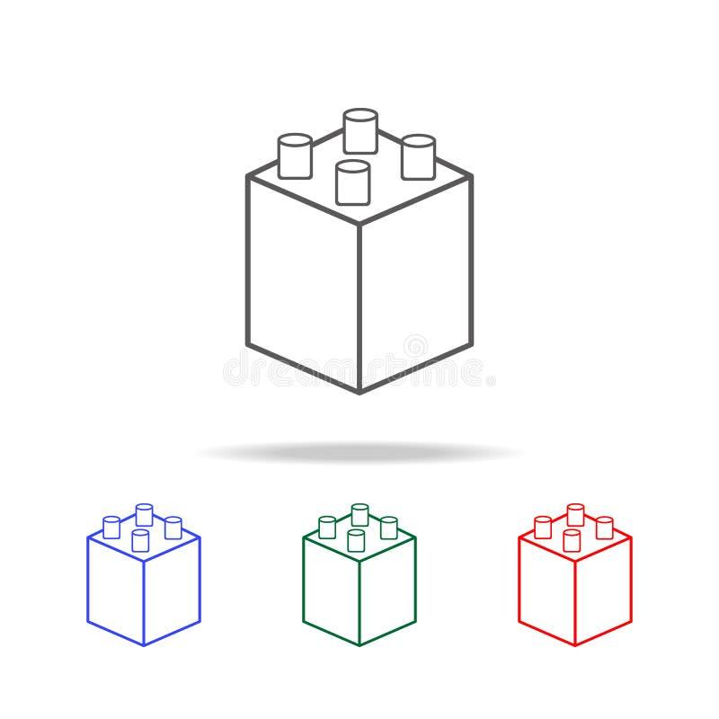 konstruktör byggnadskvarter, symbol Beståndsdelar i mång- kulöra symboler för mobila begrepps- och rengöringsdukapps Symboler för stock illustrationer