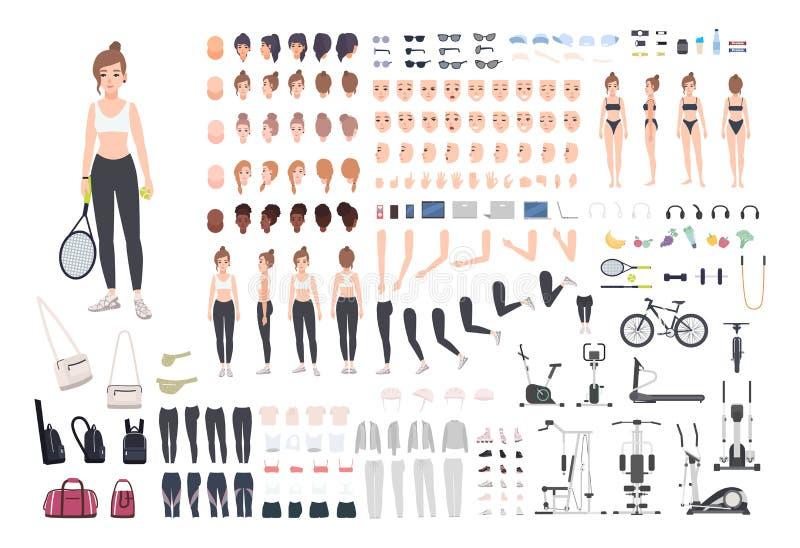Konstruktör för sportflickatecken Uppsättning för konditionkvinnaskapelse Olika ställingar, frisyr, framsida, ben, händer vektor illustrationer