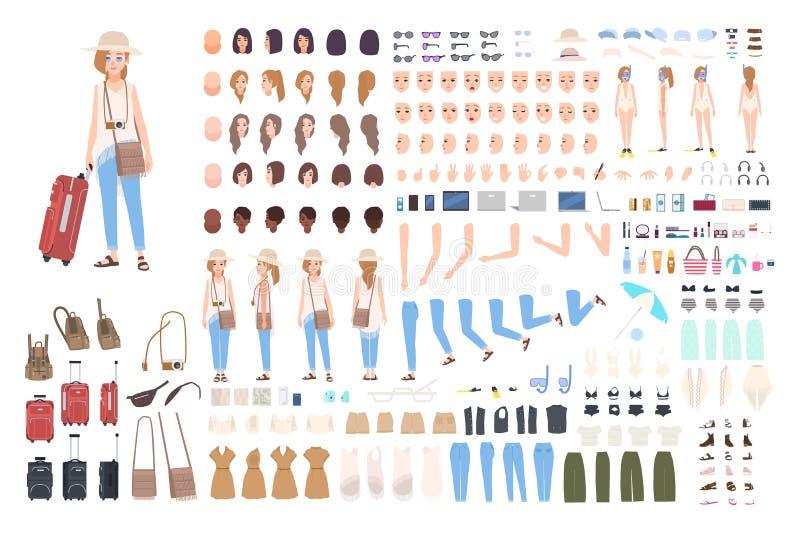 Konstruktör för ung flickahandelsresandetecken Olik kvinna i semesterskapelseuppsättning Ställingar frisyren, framsida, lägger be royaltyfri illustrationer