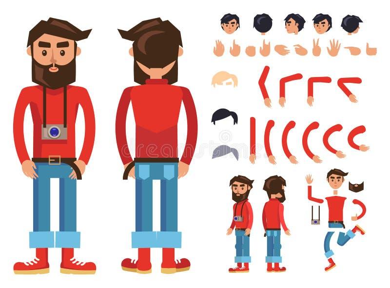 Konstruktör för vektor för tecken för tecknad filmHipsterman royaltyfri illustrationer