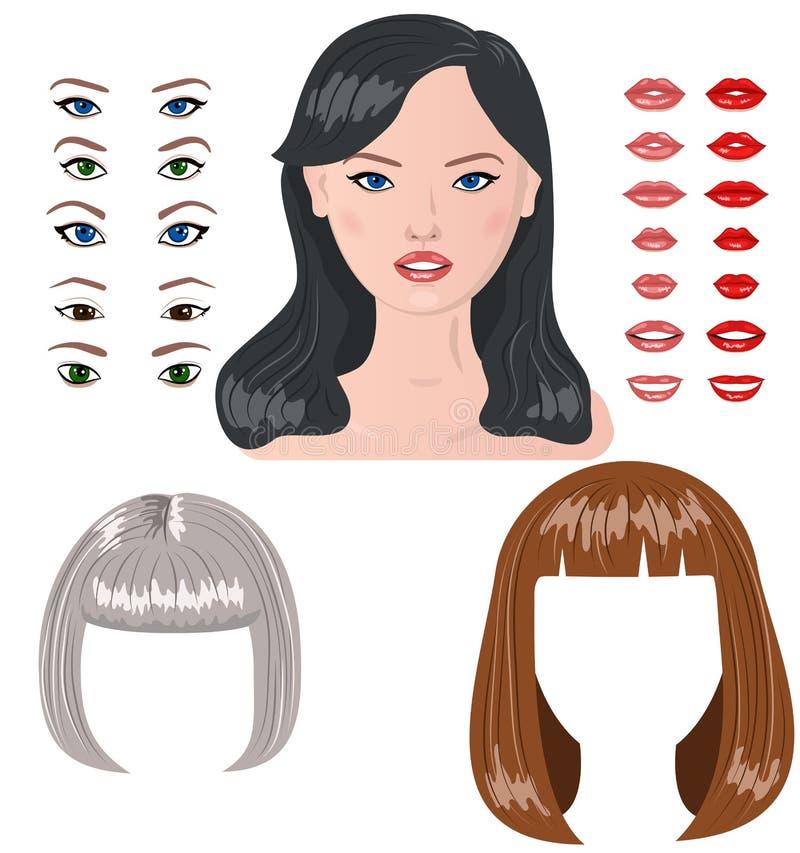 Konstruktör för vektorkvinnatecken royaltyfri illustrationer