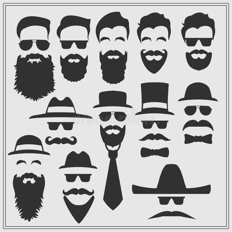 Konstruktör med olika exponeringsglas, skägg, mustascher, band och flugor royaltyfri illustrationer