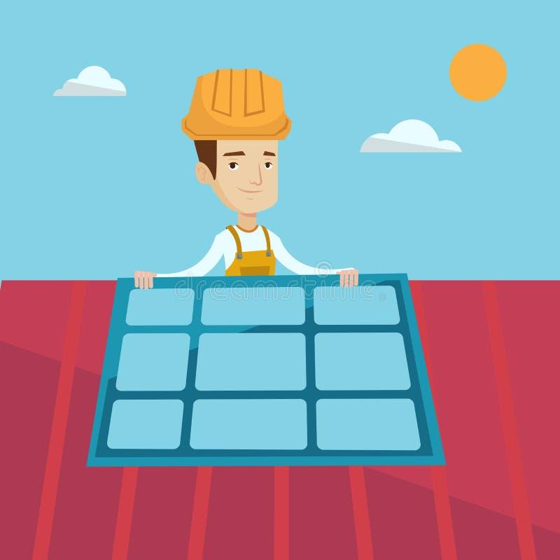 Konstruktör som installerar solpanelen royaltyfri illustrationer