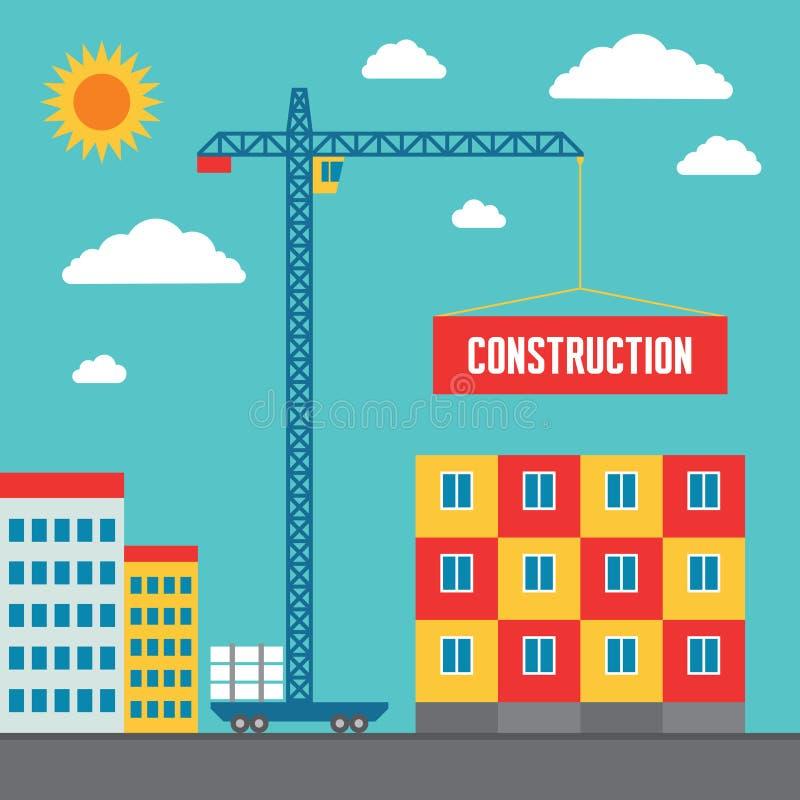 Konstruktion av byggnad - begreppsvektorillustration i plan stildesign royaltyfri illustrationer