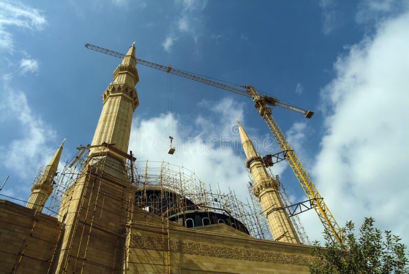 Konstruktion av Mohammad al-Amin Mosque i beirut, Libanon arkivbild