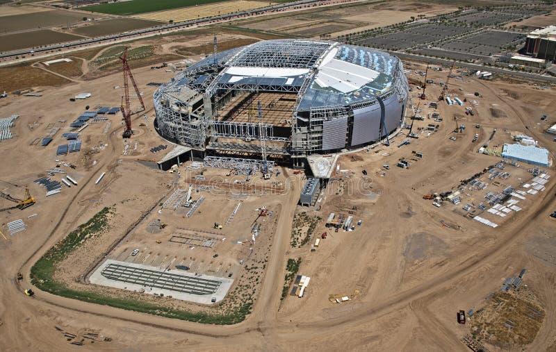 Konstruktion av stadionen royaltyfria foton
