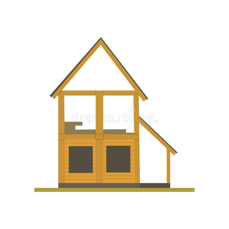 Konstruktion av trähusprocessen, illustration för ecobyggnadsvektor på en vit bakgrund vektor illustrationer