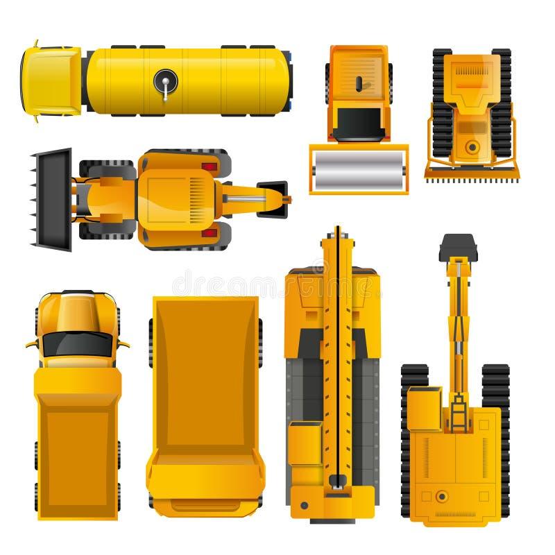 Konstruktion bearbetar med maskin bästa sikt vektor illustrationer