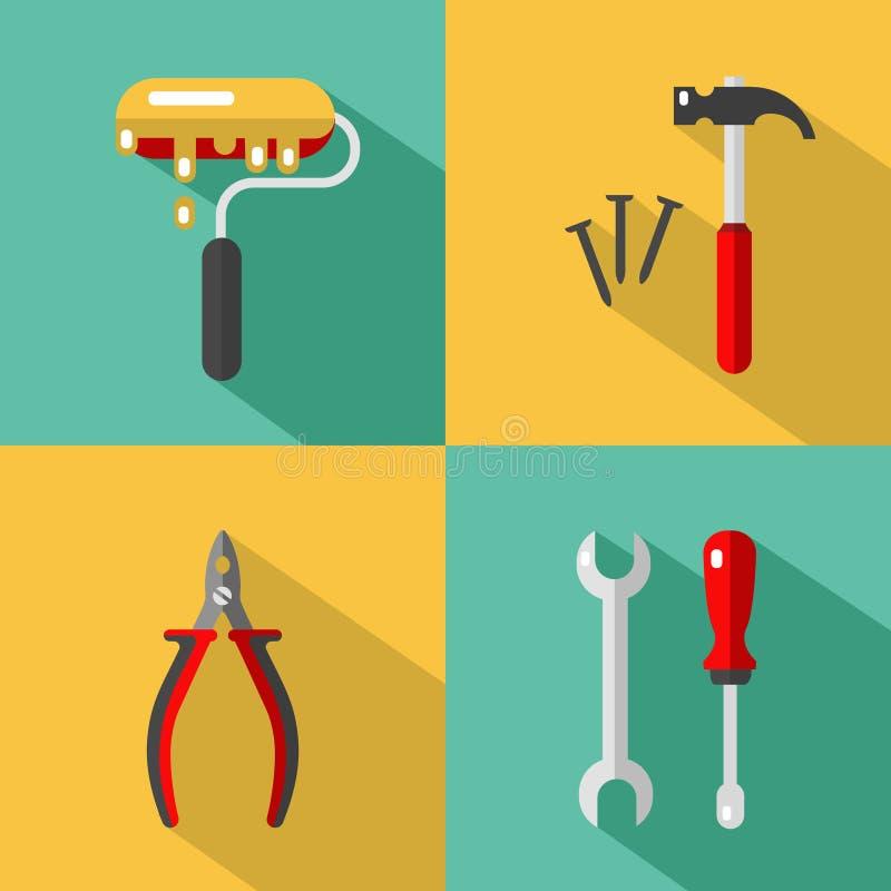 Konstruktion bearbetar symboler stock illustrationer