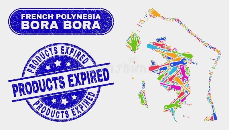 Konstruktion Bora-Bora Map och nödlägeprodukter förföll stämpelskyddsremsor vektor illustrationer