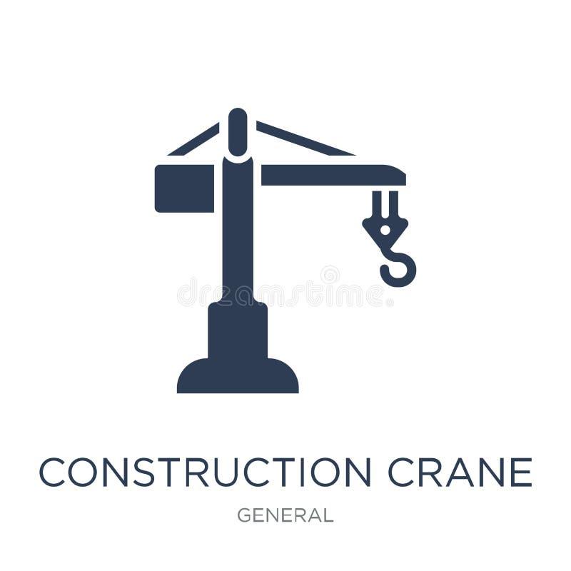 Konstruktion Crane Icon Moderiktig plan vektorkonstruktionskran I vektor illustrationer