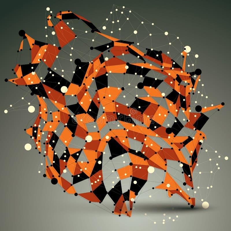 Konstruktion för abstrakt begrepp 3D för guld- vektor assymetrisk med svart och stock illustrationer