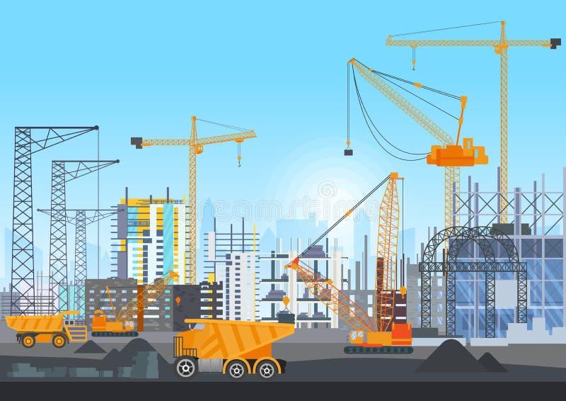 Konstruktion för stadshorisontbyggnader under konstruktion med tornkranar Byggande arbetsprocess med hus och royaltyfri illustrationer