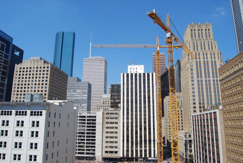 Konstruktion i i stadens centrum Houston, Texas arkivbild