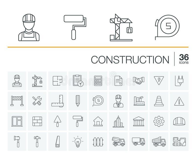 Konstruktion industriella vektorsymboler stock illustrationer