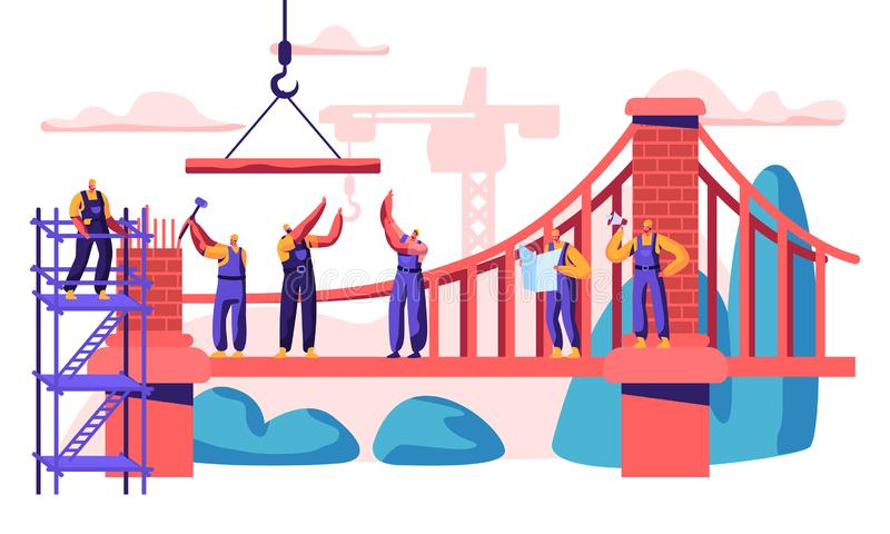 Konstruktion Kabel-bliven bro Det yrkesm?ssiga teckenet bygger ny anslutning av kust tv? Analysera planet och st?llet som l?gger  vektor illustrationer
