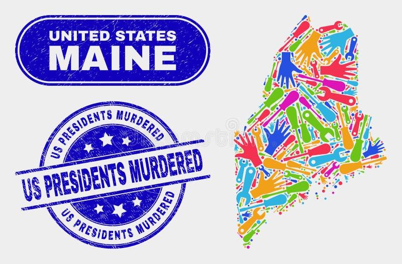 Konstruktion Maine State Map och skrapade som oss, mördade presidenter stämplar royaltyfri illustrationer