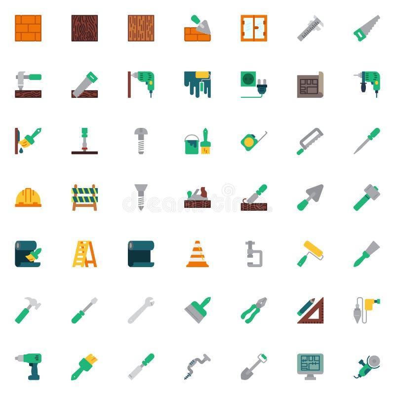 Konstruktion och hem- samling för reparationshjälpmedelbeståndsdelar, plan symbolsuppsättning vektor illustrationer