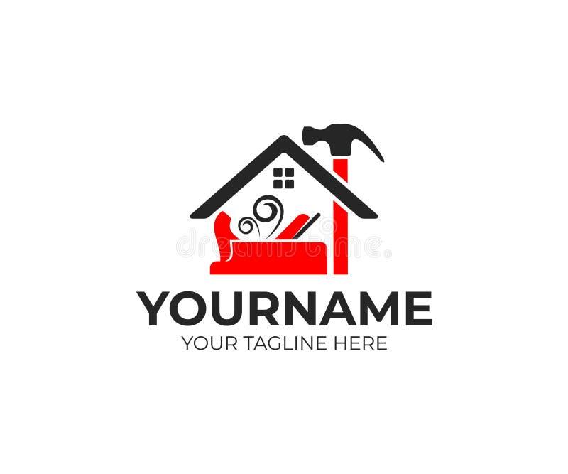 Konstruktion och hjälpmedel, snickare- eller föreningsmänniskanivå, hammare och hem, logodesign Husbyggnad, fastighet, reparation vektor illustrationer