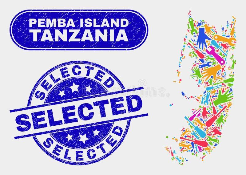 Konstruktion Pemba Island Map och skrapade utvalda stämplar vektor illustrationer