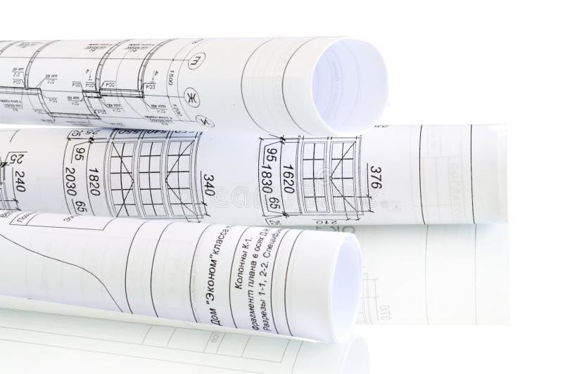 konstruktion planerar rullar arkivfoto