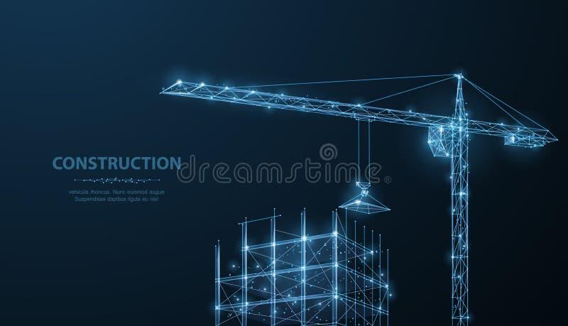 Konstruktion Polygonal wireframebyggnad under crune på mörker - blå natthimmel med prickar, stjärnor arkivbilder
