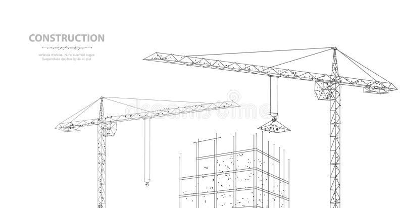 Konstruktion Polygonal wireframebyggnad under crune som isoleras på vit Teckning diagram royaltyfri illustrationer