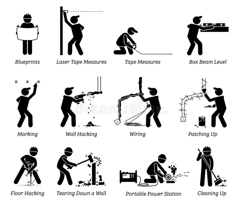 Konstruktion, renovering och husförbättringssymboler royaltyfri illustrationer