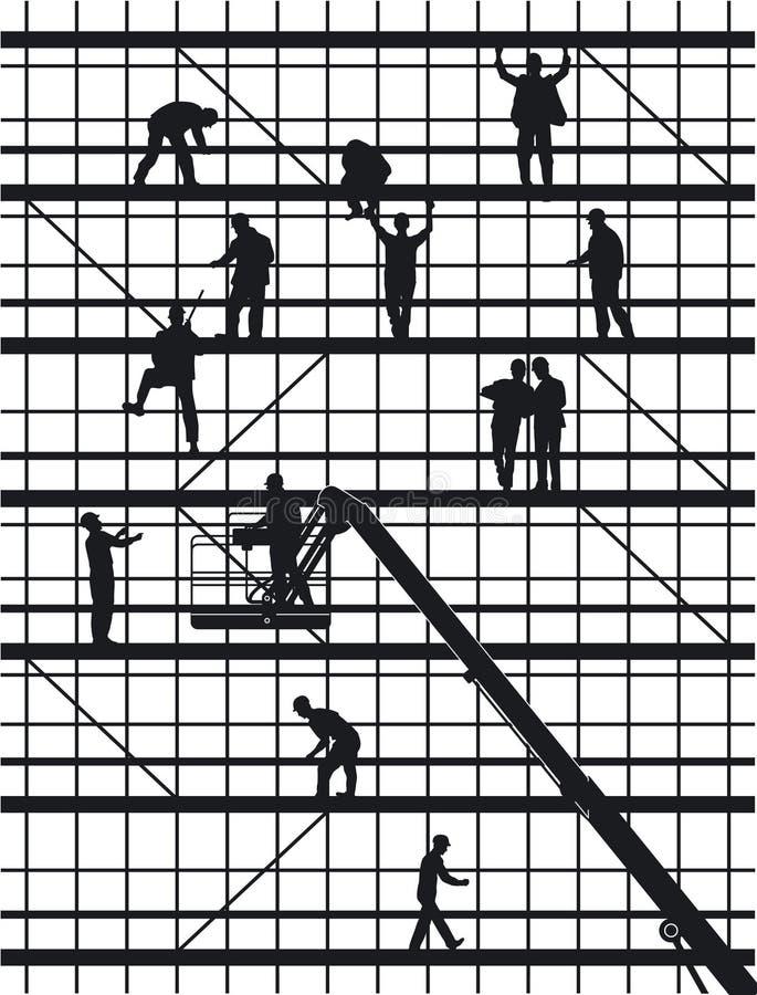 konstruktion silhouettes arbetare vektor illustrationer
