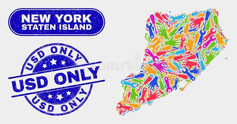 Konstruktion Staten Island Map och nödläge USD förseglar endast stock illustrationer