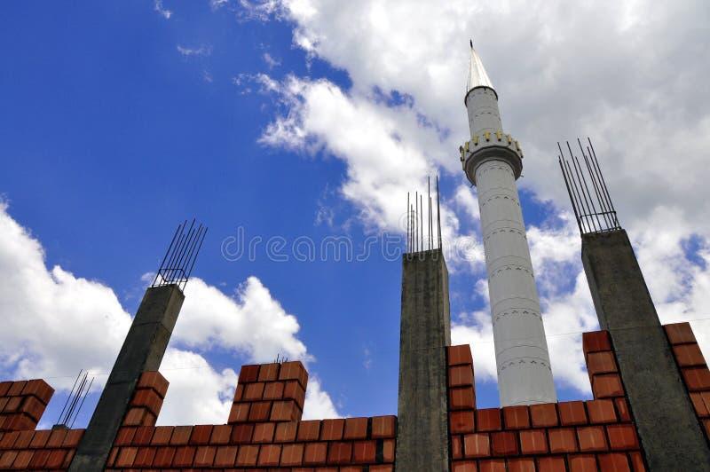 Konstruktionen av den nya moskén arkivfoto