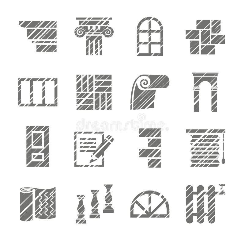 Konstruktions- och avslutningmaterial, symboler, skuggningsblyertspenna, vektor stock illustrationer