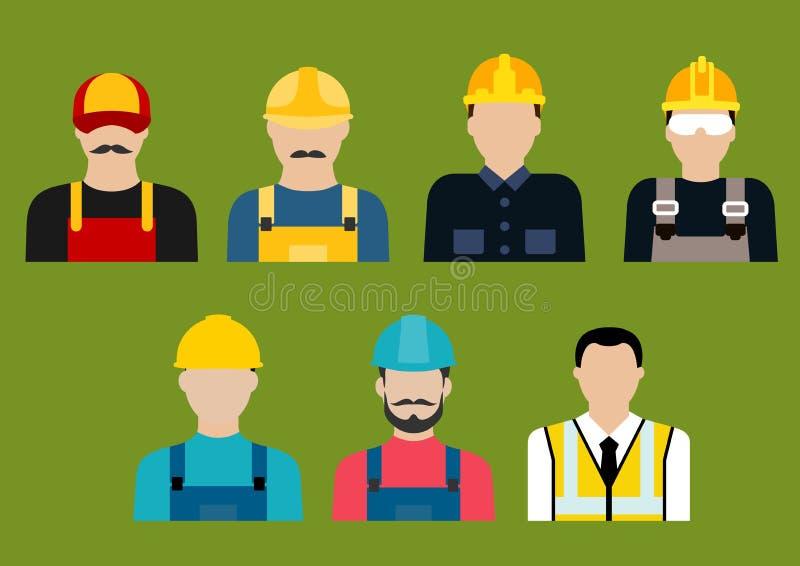 Konstruktions- och serviceyrkeavatars stock illustrationer