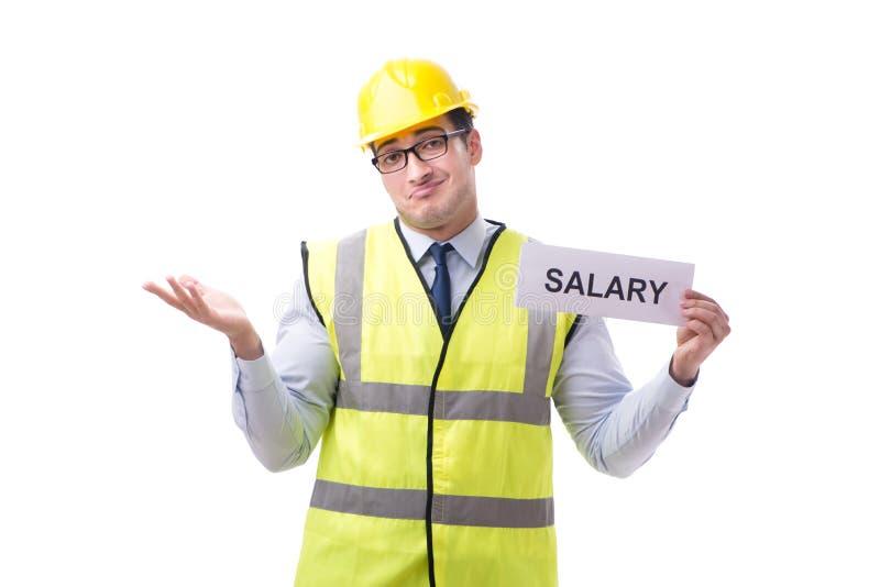 Konstruktionsarbetsledare som frågar för högre lön som isoleras på whi royaltyfria foton