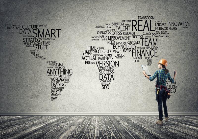 Konstruktionsbegrepp och globalisering royaltyfri bild