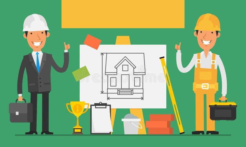 Konstruktionsbegreppstekniker och byggmästare Show Thumbs Up royaltyfri illustrationer