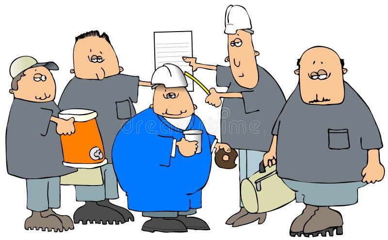 Konstruktionsbesättning för arbete stock illustrationer