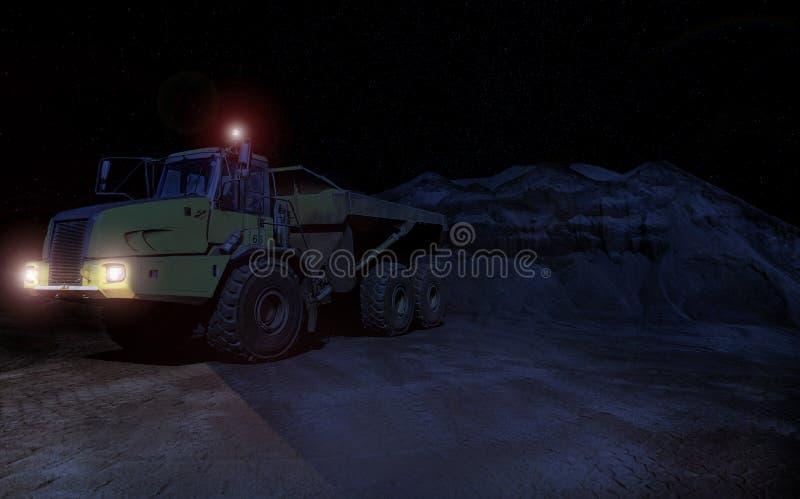 Konstruktionsdumper som transporterar grus för att bearbeta på natten royaltyfri fotografi