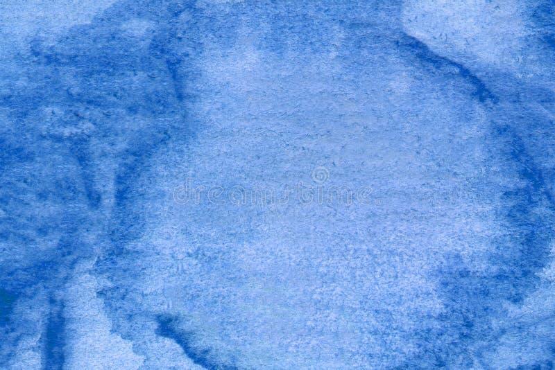 Konstruktionselement Für das Web Abstrakte Handmalerei auf papierblaue Aquarelltextur stockfotografie