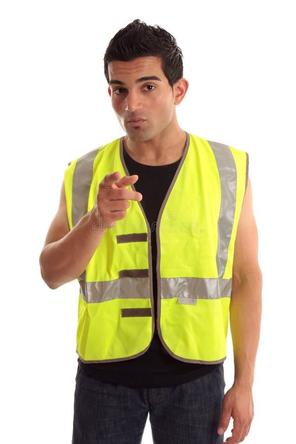 konstruktionsfinger hans pekande arbetare royaltyfri fotografi