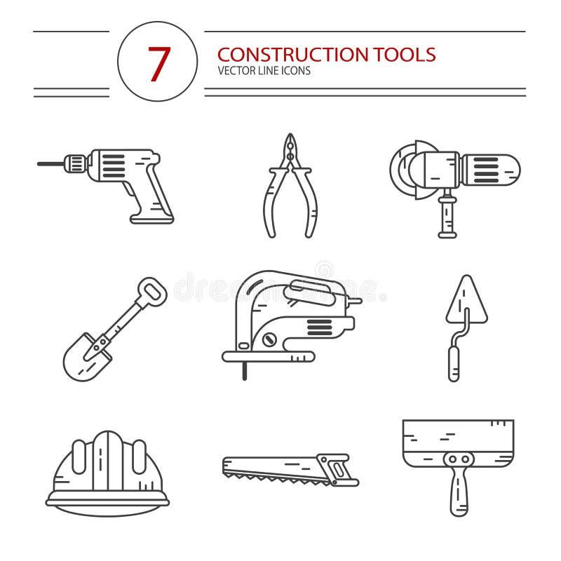 konstruktionshammaren tools fönstret royaltyfri illustrationer